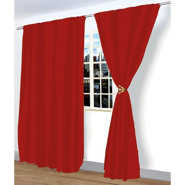 Cortina em Poliéster Vermelha 280x240 cm